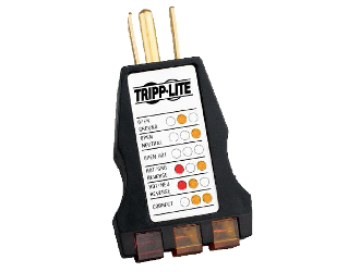 TrippLite Ground Tester, AC Outlet Circuit Analyzer. Simple to use plug-in AC outlet circuit tester. Instantly displays several common wiring faults. Easy-to-read lighted display.