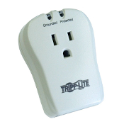 Single AC Outlet Point-of-Use Surge Protection Device with Modem Protection. 1 AC Outlet. $10,000 Warranty with Ultimate Lifetime Insurance. LED diagnostics for protection status. 1 Pair of tel/modem connectors. 540 Joule rating. Listed to UL 1449.