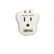 "The SpikeCube is a single outlet Surge Protector. This device has a 540 joule rating and $5,000 of ""Ultimate Lifetime Insurance"" backed by TrippLite. LED Diagnostics indicate protection and that the device is grounded."